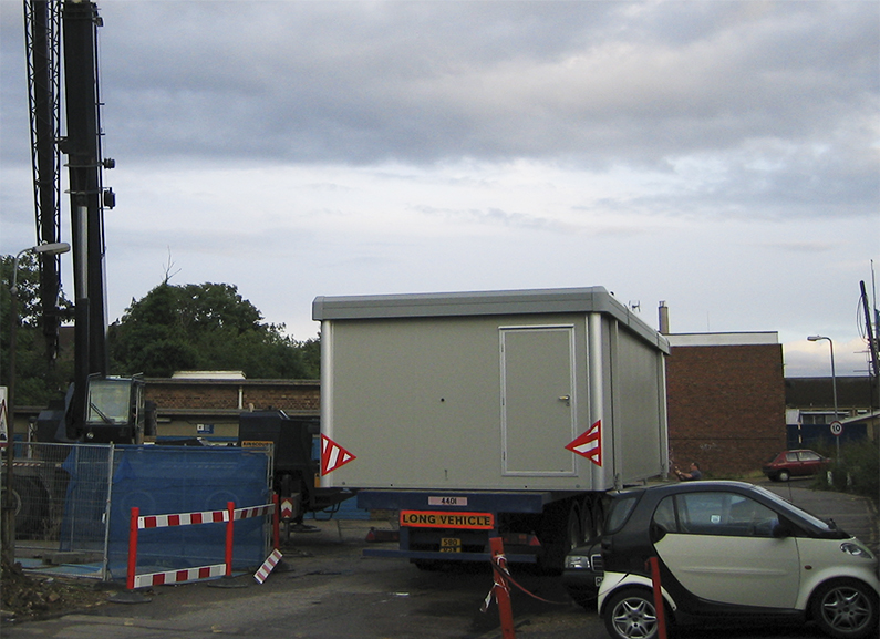 Portable cleanroom being delivered